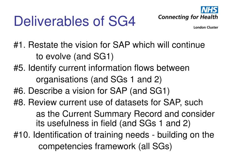 Deliverables of sg4