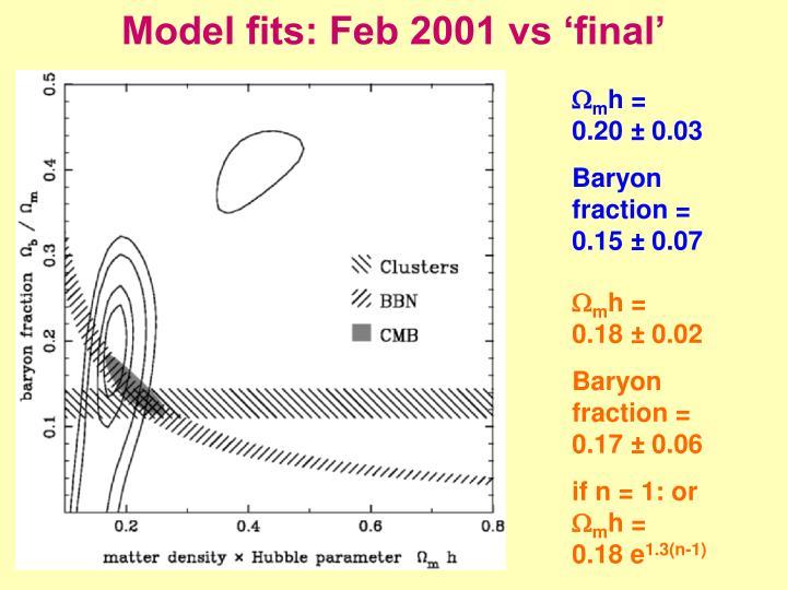 Model fits: Feb 2001 vs 'final'