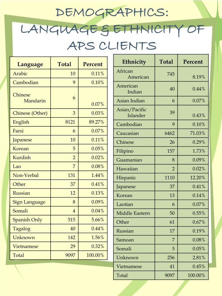 DEMOGRAPHICS:  LANGUAGE & ETHNICITY OF APS CLIENTS