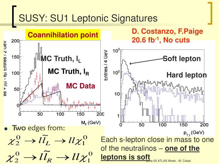 SUSY: SU1 Leptonic Signatures