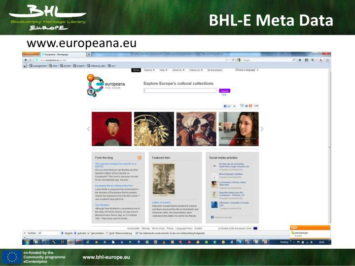 BHL-E Meta Data