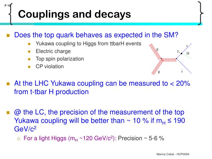 Couplings and decays