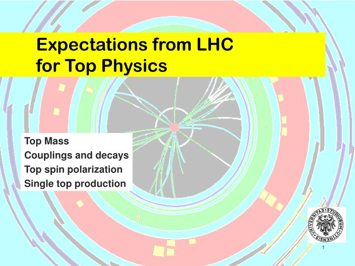 Expectations from lhc for top physics