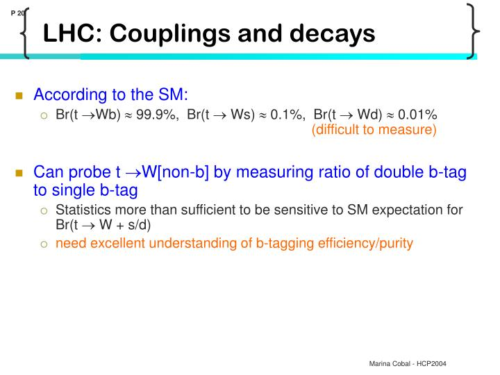 LHC: Couplings and decays