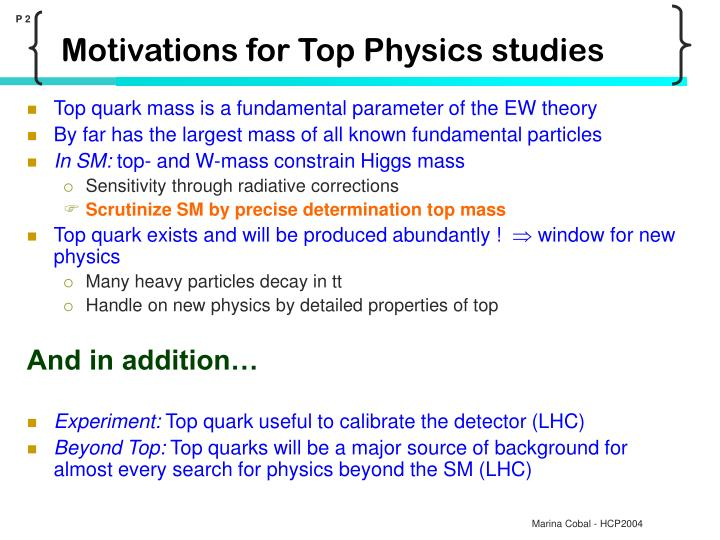 Motivations for top physics studies