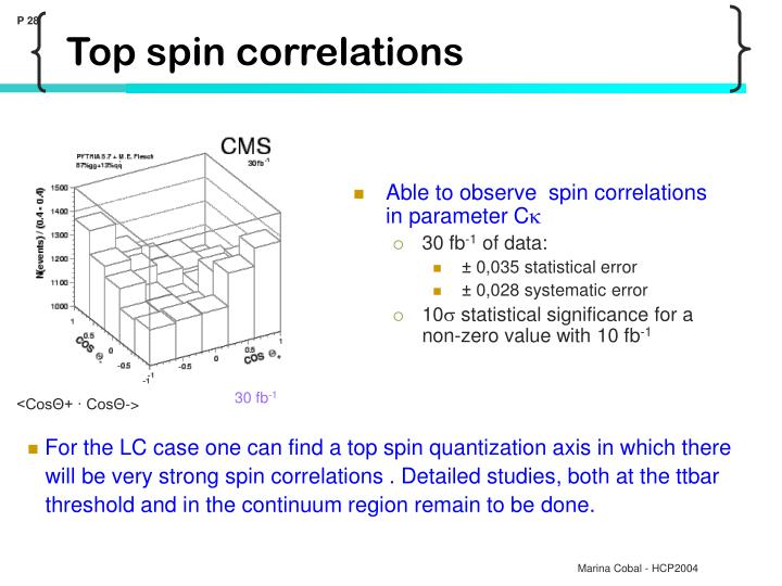 Able to observe  spin correlations in parameter C