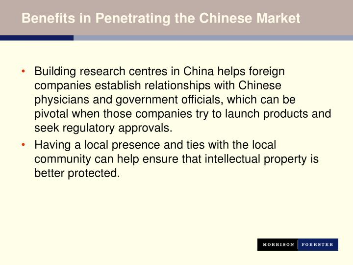 Benefits in Penetrating the Chinese Market