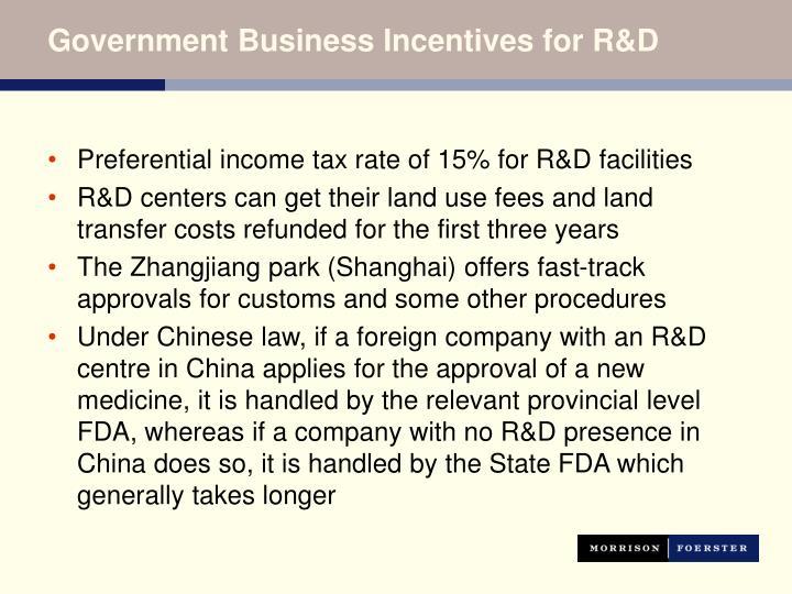 Government Business Incentives for R&D