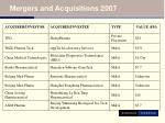 mergers and acquisitions 2007