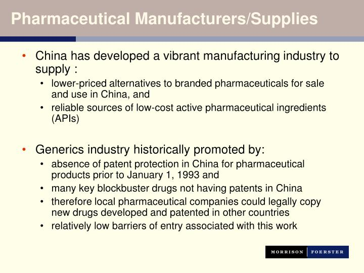 Pharmaceutical Manufacturers/Supplies