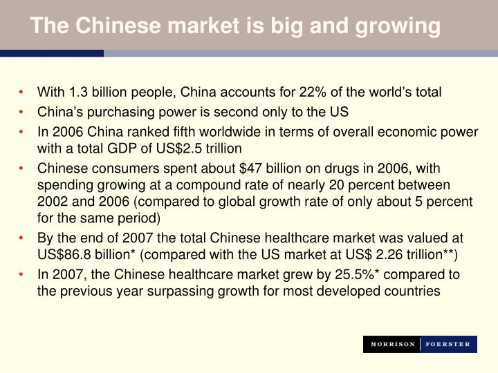 The Chinese market is big and growing