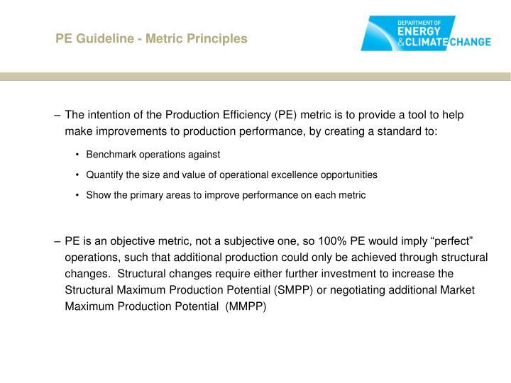 PE Guideline - Metric Principles