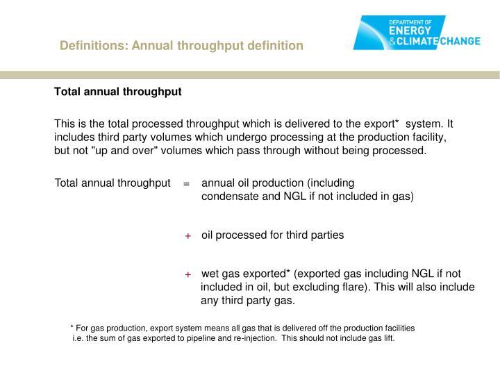 Definitions: Annual throughput definition