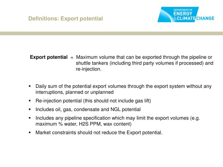 Definitions: Export potential