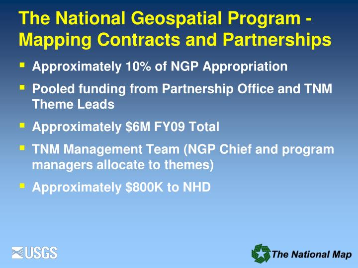 The National Geospatial Program -Mapping Contracts and Partnerships