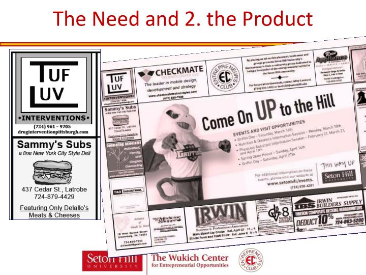 The Need and 2. the Product