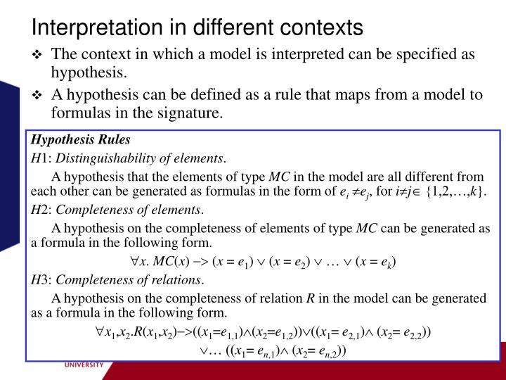 Interpretation in different contexts