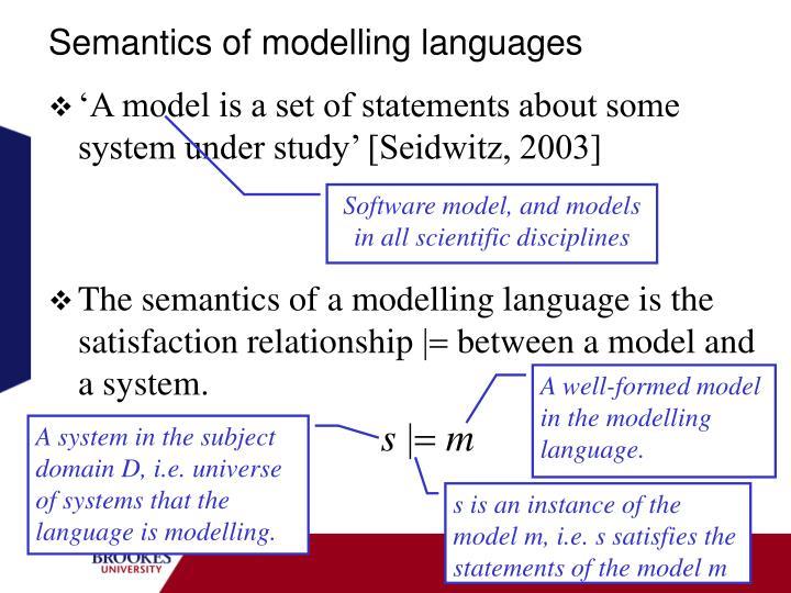 Semantics of modelling languages