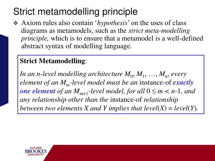 Strict metamodelling principle