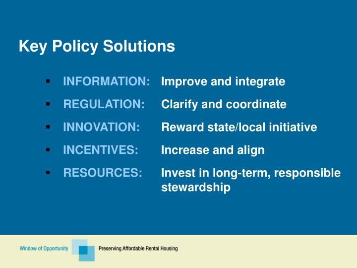 Key Policy Solutions