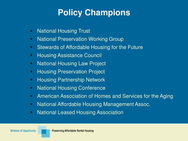 Policy Champions