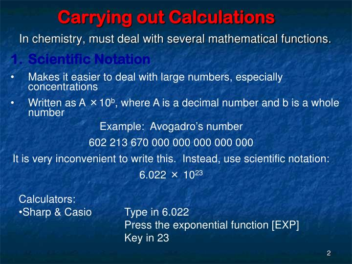 Carrying out calculations
