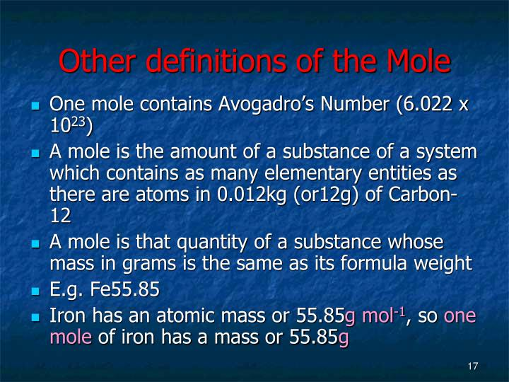 Other definitions of the Mole
