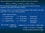 step 2 determine no of moles of caco 3 used in the reaction