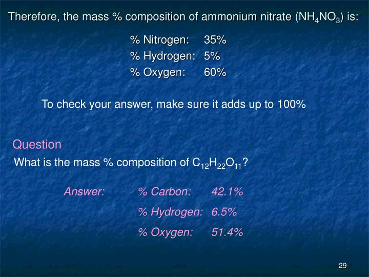Therefore, the mass % composition of ammonium nitrate (NH