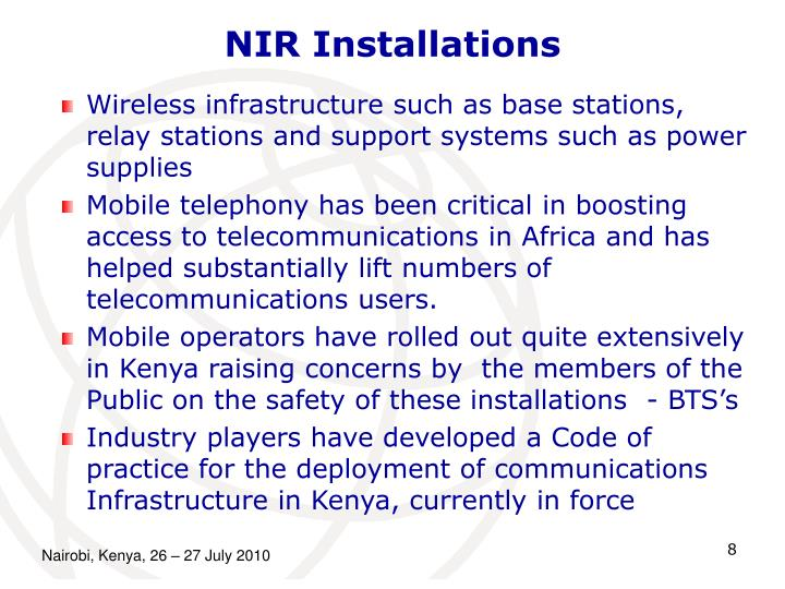 Wireless infrastructure such as base stations, relay stations and support systems such as power supplies