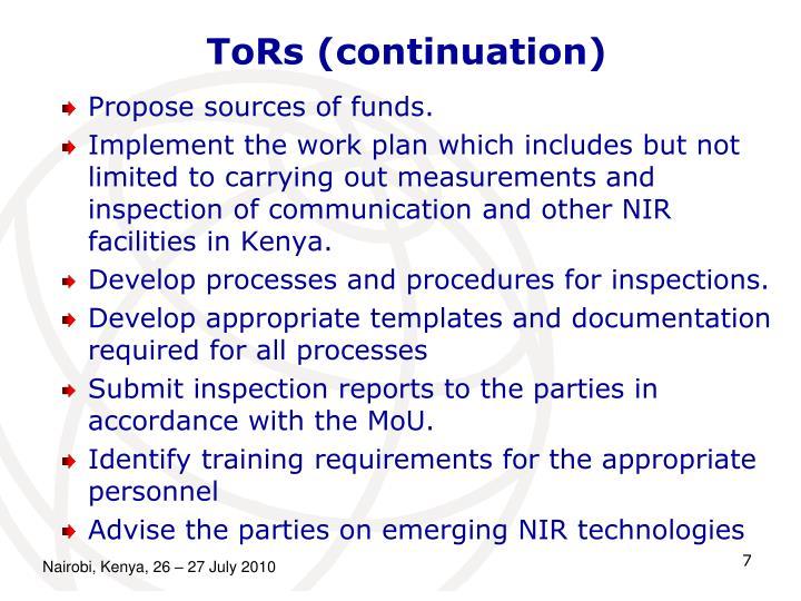 ToRs (continuation)