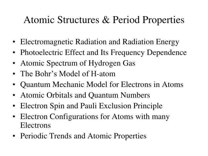 Atomic structures period properties