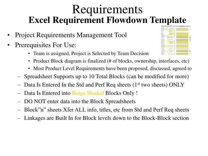 Excel Requirement Flowdown Template