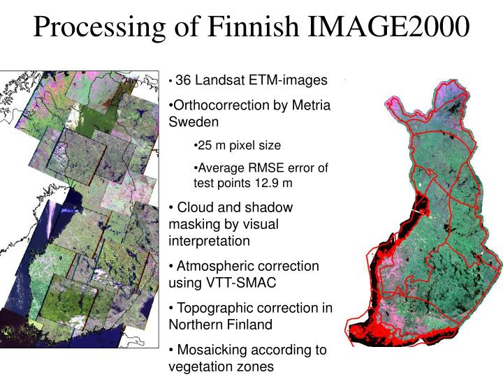 Processing of Finnish IMAGE2000