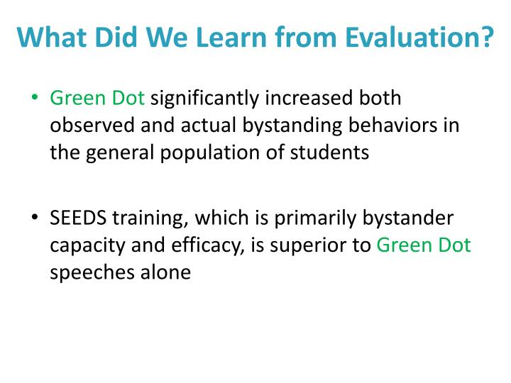 What Did We Learn from Evaluation?