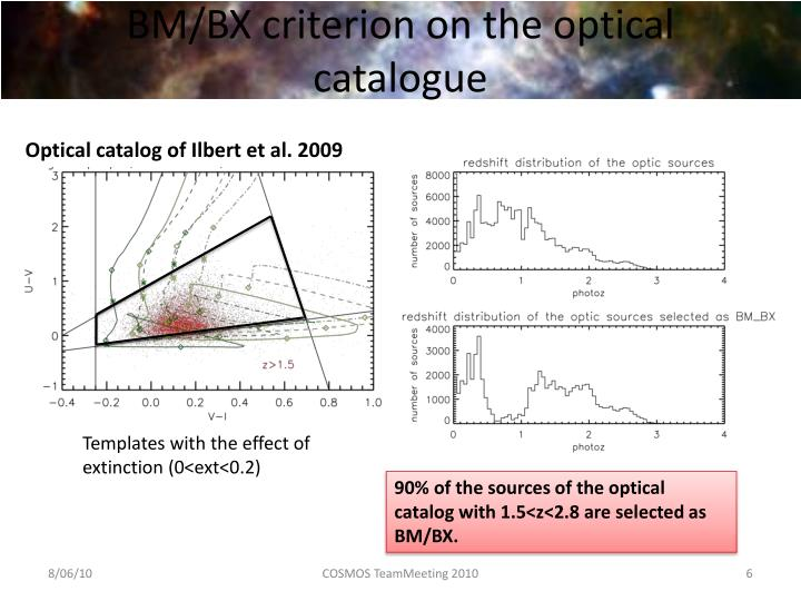 BM/BX criterion on the optical catalogue