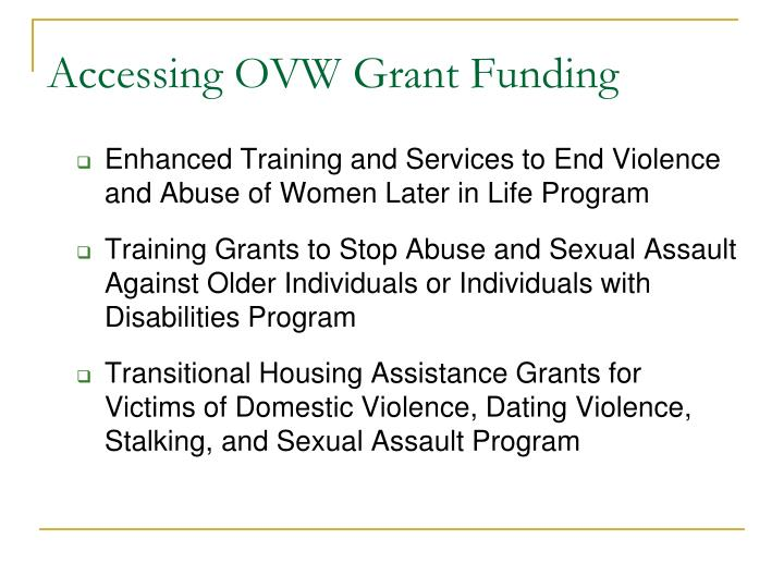 Accessing OVW Grant Funding