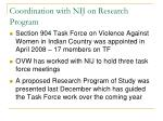 coordination with nij on research program
