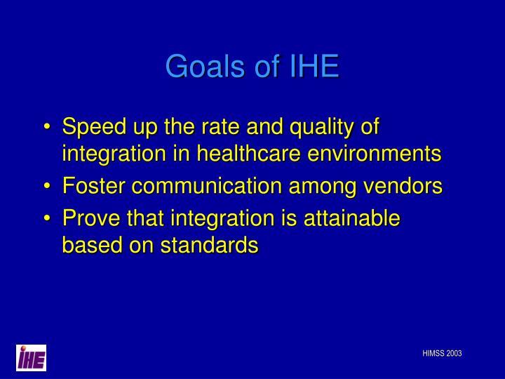 Goals of IHE