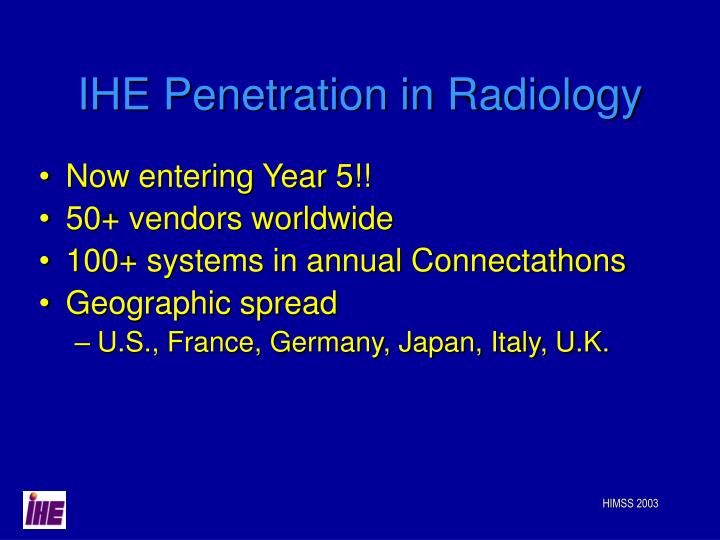 IHE Penetration in Radiology