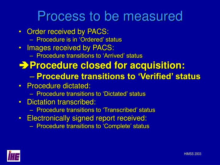 Process to be measured