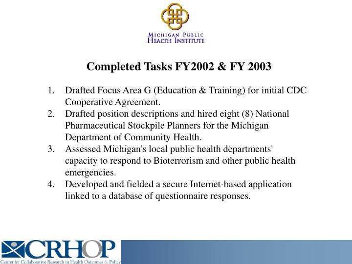 Completed Tasks FY2002 & FY 2003