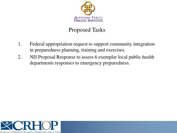 Proposed Tasks
