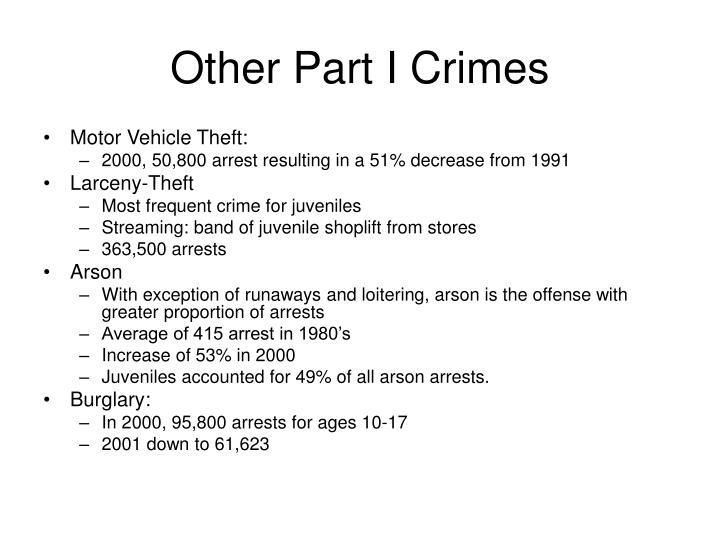 Other Part I Crimes