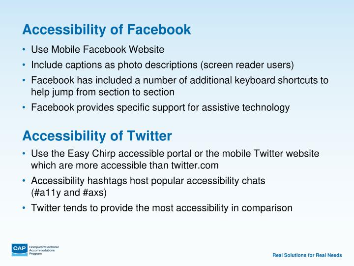Accessibility of Facebook