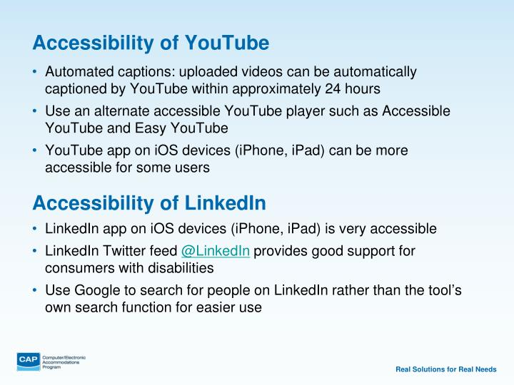 Accessibility of YouTube