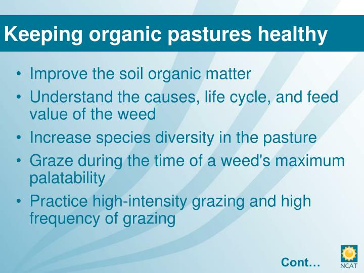 Keeping organic pastures healthy