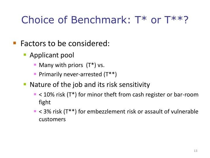 Choice of Benchmark: T* or T**?