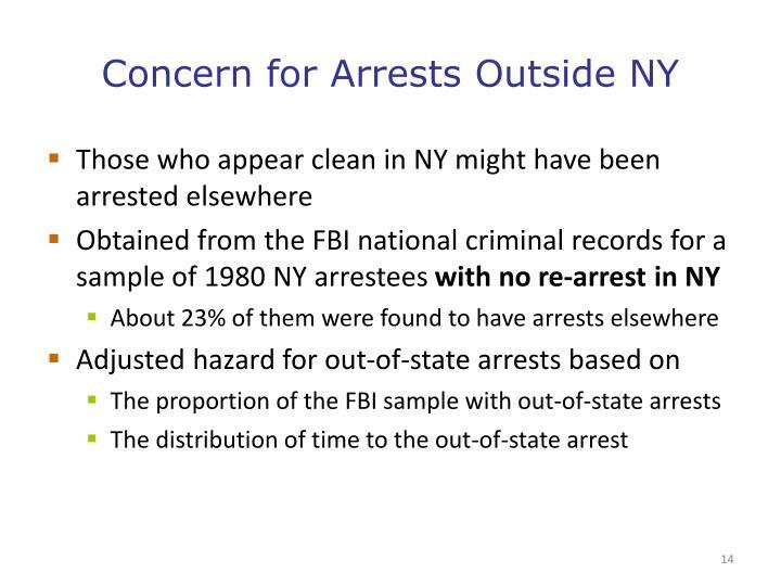 Concern for Arrests Outside NY