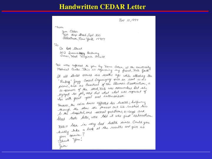 Handwritten CEDAR Letter
